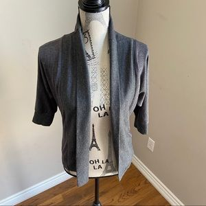 Ginger G 3/4 sleeves open front grey cardigan M